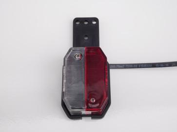 Begrenzungsleuchte rot weiß mit Kabel 0,5m DC und Halter links