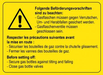 Warnaufkleber Beförderungsvorschriften Gasflaschen