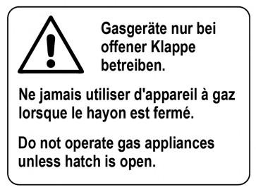 Warnaufkleber Gasgeräte nur bei offener Klappe betreiben
