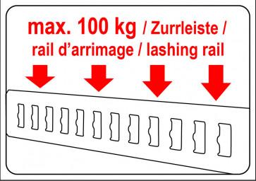 Warnaufkleber max.100 kg Zurrleiste