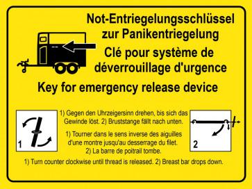 Warnaufkleber Not-Entriegelungsschlüssel zur Panikentriegelung