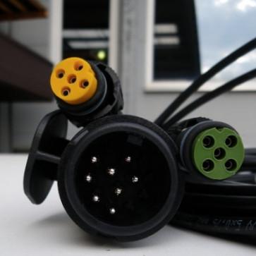 Kabelsatz 9 Meter Stecker 13 Polig mit 2 Abgängen 5 pol. Bajonett